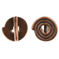 B&B Benbassat 10mm Spiral Flat Leather Cord Slider - Antique Copper