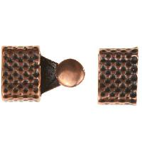 B&B Benbassat 3mm Honeycomb Round Leather Cord Hook & Slider (2 pcs) - Antique Copper