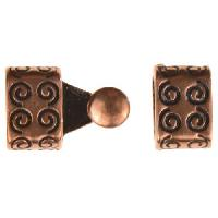 B&B Benbassat 3mm Curlicue Round Leather Cord Hook & Slider (2 pcs) - Antique Copper