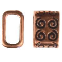 B&B Benbassat 5mm Curlicue Leather Cord Slider - Antique Copper