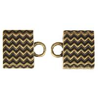 B&B Benbassat 10mm Wavy Lines Large Hole End Cap (2) - Antique Brass