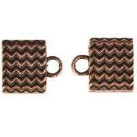 B&B Benbassat 10mm Wavy Lines Large Hole End Cap (2) - Antique Copper