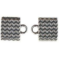 B&B Benbassat 10mm Wavy Lines Large Hole End Cap (2) - Antique Silver