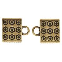 B&B Benbassat 10mm Circle Dot Large Hole End Cap (2) - Antique Brass