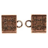 B&B Benbassat 10mm Flower Large Hole End Cap (2) - Antique Copper