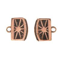 B&B Benbassat 10mm Sunburst Flat Leather Cord Crimp End Cap (2) - Antique Copper