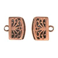 B&B Benbassat 10mm Tree Flat Leather Cord Crimp End Cap (2) - Antique Copper