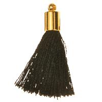 30mm Tassel Gold Plated Cap - Black