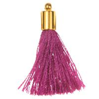 30mm Tassel Gold Plated Cap - Purple