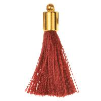 30mm Tassel Gold Plated Cap - Bordeaux