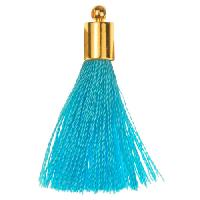 30mm Tassel Gold Plated Cap - Turquoise