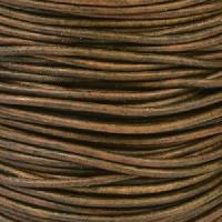 2mm Round Indian Leather Cord - Natural Dark Green - per foot