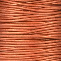 2mm Round Leather Cord - Metallic Red Copper