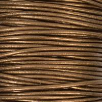 2mm Round Leather Cord - Metallic Bronze