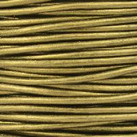 2mm Round Leather Cord - Metallic Olive