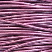 2mm Round Leather Cord - Metallic Berry
