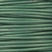 2mm Round Leather Cord - Metallic Ocean Green