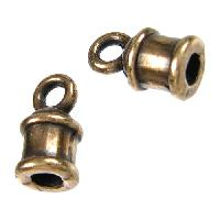 2mm Bell End Cap Loop Round Leather Cord Clasp per 10 pieces - Antique Brass