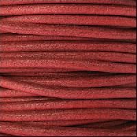 2mm Round Euro Leather Cord - Burnt Red - per foot