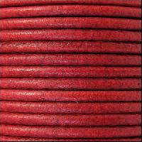 2mm Round Euro Leather Cord - Distressed Red - per foot