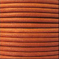 2mm Round Euro Leather Cord - Burnt Orange - per foot