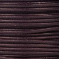 2mm Round Mediterranean Leather Cord - Dark Purple - per foot