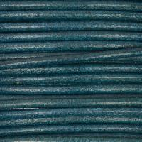 2mm Round Mediterranean Leather Cord - Teal - per foot