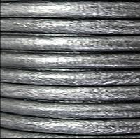 2mm Round Euro Leather Cord - Metallic Silver - per foot
