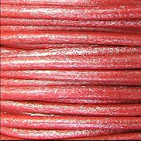 2mm Round Euro Leather Cord - Metallic Coral - per foot