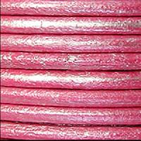2mm Round Euro Leather Cord - Metallic Fuchsia - per foot