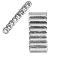 2mm round RIDGED EIGHT HOLE slider ANTIQUE SILVER