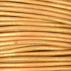 2mm Round Indian Leather Cord - Gold Natural Dye - per foot