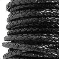 Braided 3mm Round Leather Cord - Black - per inch