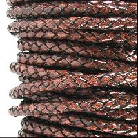 Braided 3mm Round Leather Cord - Tobacco