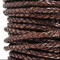 Braided 3mm Round Leather Cord - Distressed Brown - per inch