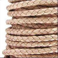 Braided 3mm Round Leather Cord - Natural - per inch