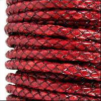 Braided 3mm Round Leather Cord - Distressed Red - per inch