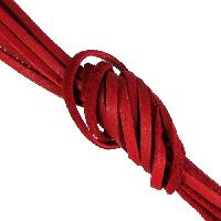 Deerskin 3mm Flat Lace Cord - Red