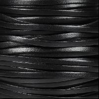 3mm Flat Leather Cord - Black - per inch