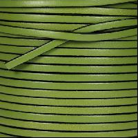 3mm Flat Leather Cord - Olive Green - per inch