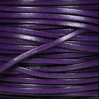 3mm Flat Leather Cord - Deep Purple - per inch