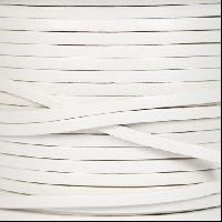 3mm Flat Leather Cord - White - per inch