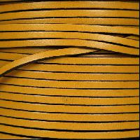 3mm Flat Leather Cord - Old Yellow - per inch