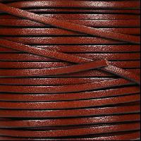 3mm Flat Leather Cord - Mahogany - per inch