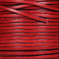 3mm Flat Leather Cord - Red - per inch