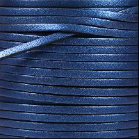 3mm Flat Leather Cord - Metallic Denim - per inch