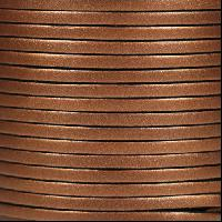 3mm Flat Leather Cord - Metallic Dark Copper - per inch