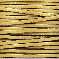 3mm Flat Leather Cord - Metallic Gold - per inch