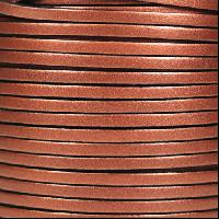 3mm Flat Leather Cord - Metallic Antique Copper - per inch