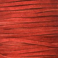 Suede 3mm FLAT Leather Cord - Red